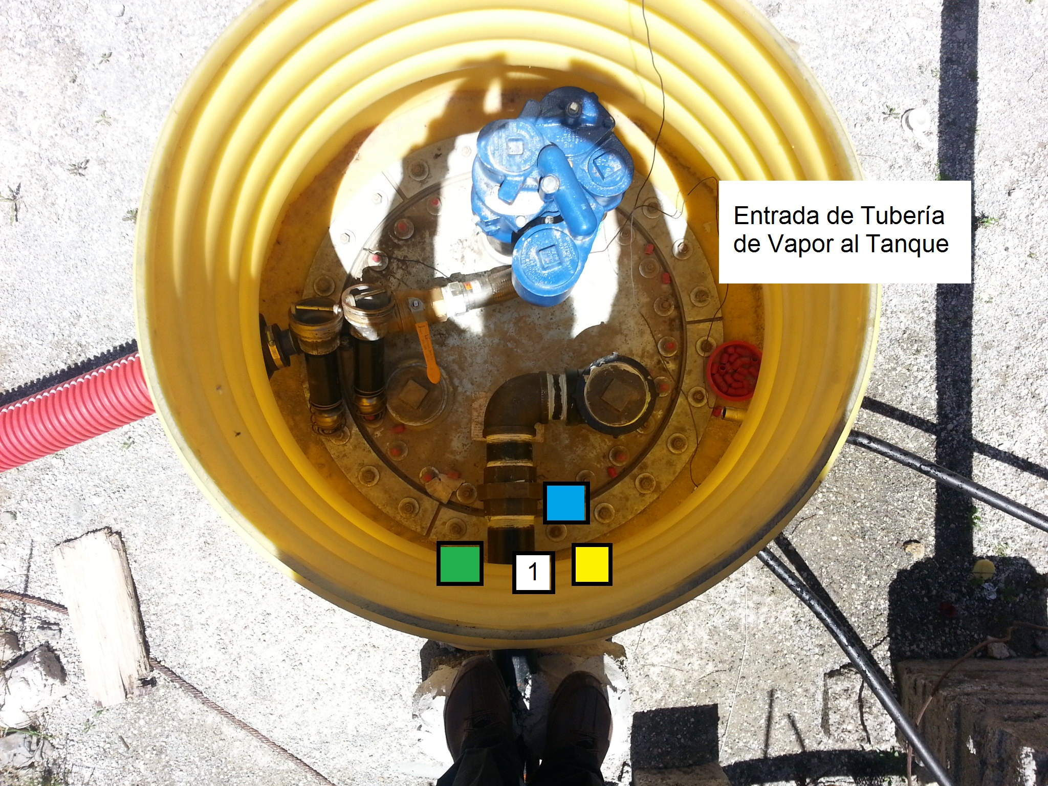 conexion de vapor en tanque