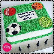 Jake's sports themed chocolate mud birthday cake