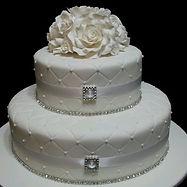 Quilted Diamante Roses Wedding Cake