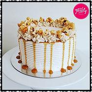 Vegan Gluten Free Banana and Caramel Popcorn Drip Cake