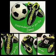 Soccer ball and boots cake