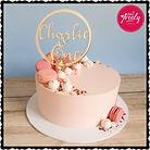 Pretty pink first birthday cake