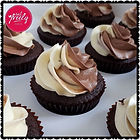 Chocolate cupcakes topped with a chocolate and vanilla buttercream swirl