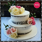Vegan wedding cake with fresh flowers