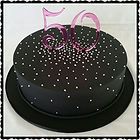 Black, Silver & Pink Gluten Free 50th Birthday Cake