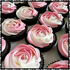 Pink & White Rosette Cupcake with a touch of gold