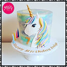 Unicorn Cake with marbled pastel icing