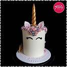 Pink and white swirl Unicorn cake