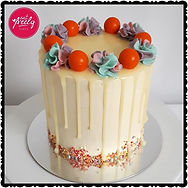 White mud cake filled with bubblegum flavoured buttercream