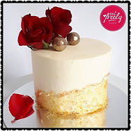 Gold Faultline Cake topped with Fresh Roses