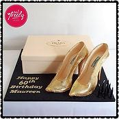 Prada Shoe Box Cake with icing stilettos