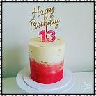 Pretty White, Pink & Gold 13th Birthday Cake