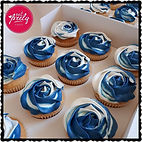 Blue and white Rose Cupcakes