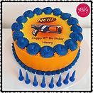 Gluten free and dairy free Nerf themed birthday cake