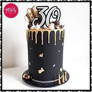 Gluten Free white chocolate mud and caramel 30th birthday drip cake