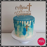 First Communion Drip Cake