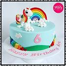 Unicorn and rainbow fondant cake