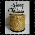 Gold Sequin Happy Birthday Cake