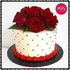 Gluten free 40th birthday cake topped with fresh roses