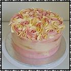 Pink, White, Gold Rosette Cake