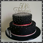 Black, Red & Silver 50th Birthday Cake