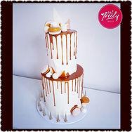 White chocolate & caramel drip cake