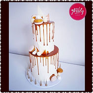 White chocolate & caramel drip cake