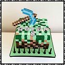Minecraft Diamond Pickaxe Cake