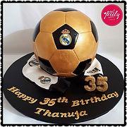 Real Madrid Soccer Ball White Chocolate Mud Cake