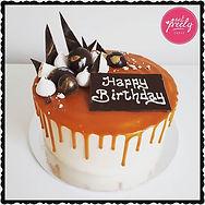 Gluten Free White Chocolate Mud and Caramel Drip Birthday Cake