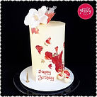 White chocolate and raspberry birthday cake