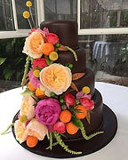 Chocolate Gluten Free Low FODMAP Allergy Friendly Wedding Cake with Fresh Flowers