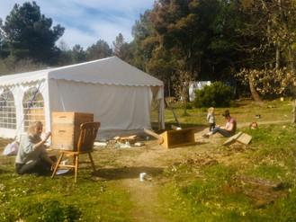 Swarm season preparation, means hive painting time