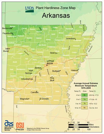 Plant Hardiness Zone Map for Arkansas