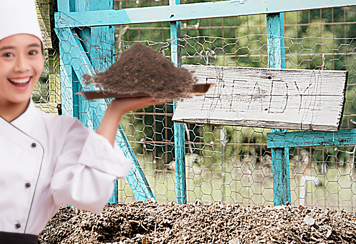 Chef holding compost ready to add to a spring vegetable garden