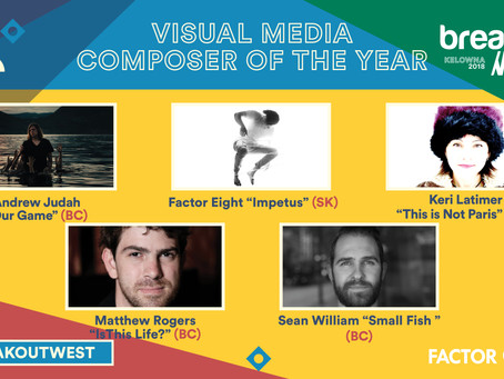 Sean William nominated for Visual Media Composer of the Year 2018