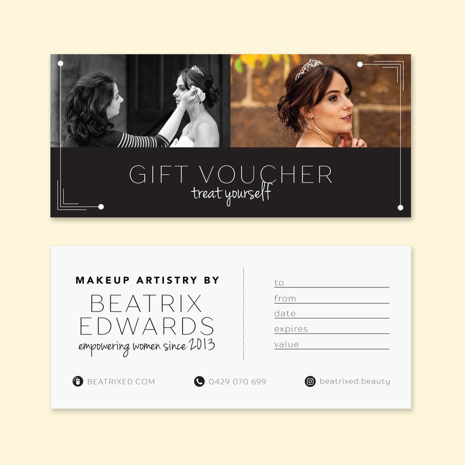 Gift Voucher Design for Makeup Artist Beatrix Edwards