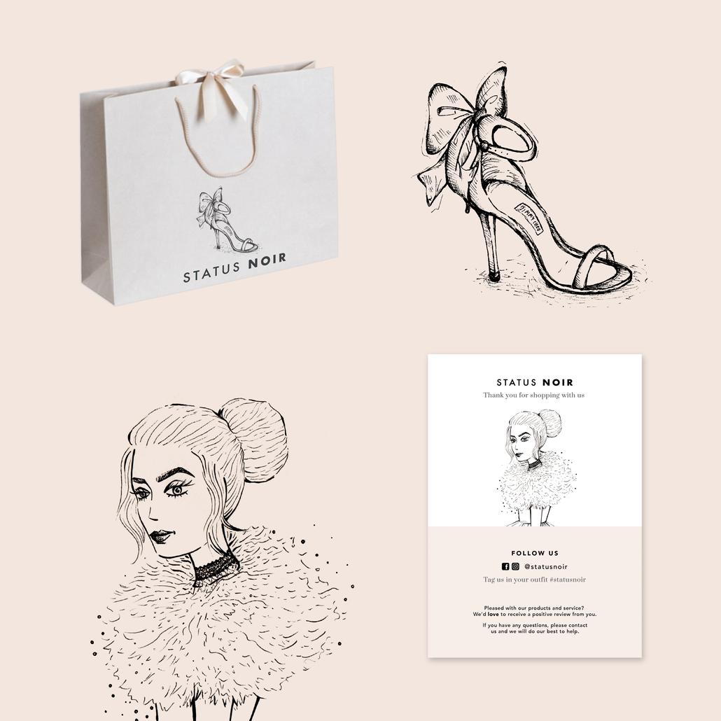 Status Noir Logo, Branding & Printed Material
