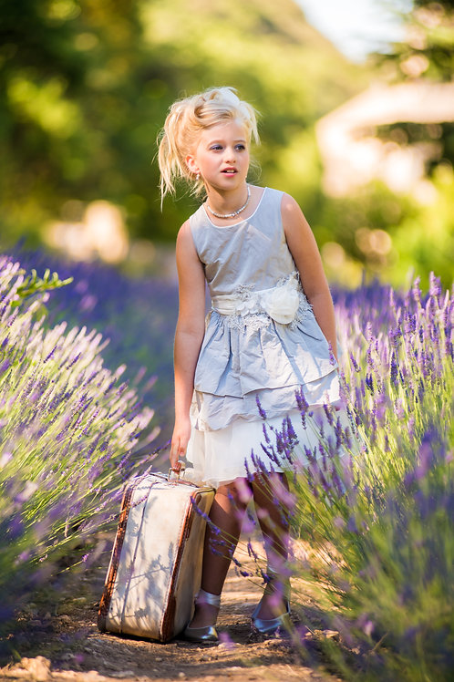 TARATATA grey dress with white belt with other flowers size 6 years