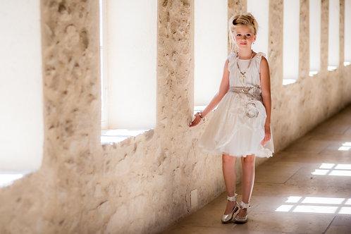 TARATATA dress white with white belt instead of grey belt size 9 y