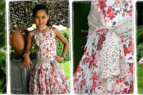 8jaar: Ante3 silk dress, incl bolero and juwels