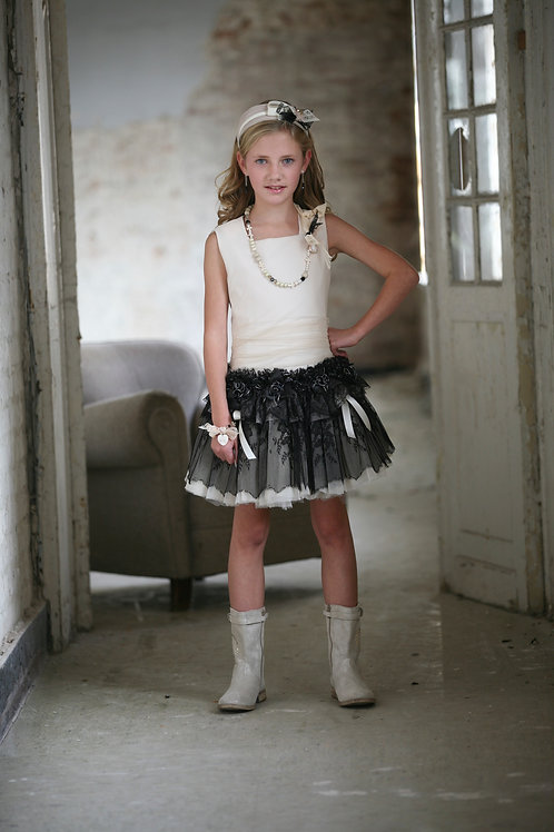 12jaar: CapRas dress, off white/black incl bolero