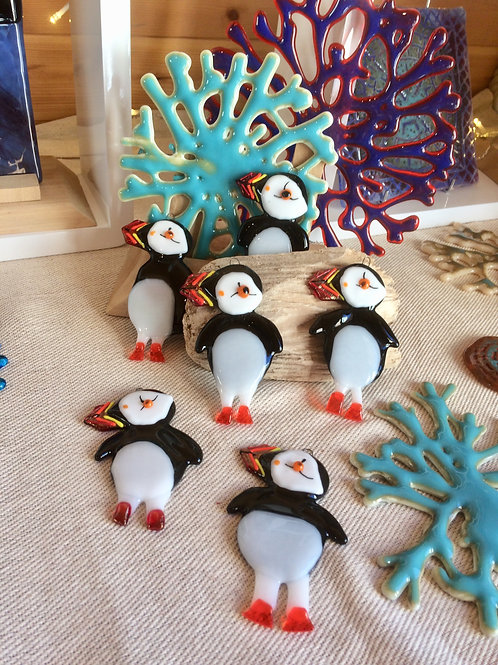 Glass Fused Puffin Hanging Decoration