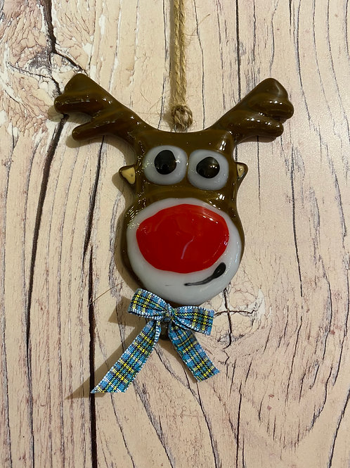 Cheeky Glass Reindeer with Manx Ribbon Bow