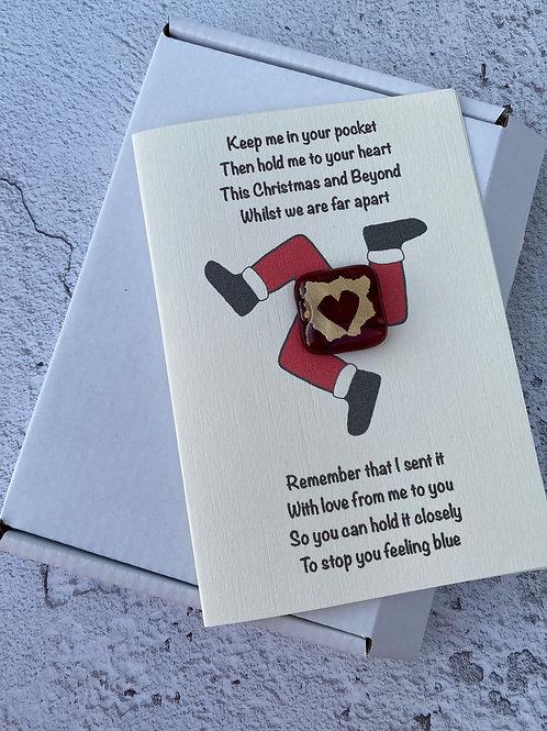 Christmas Manx Santa 3legs Pocket hug