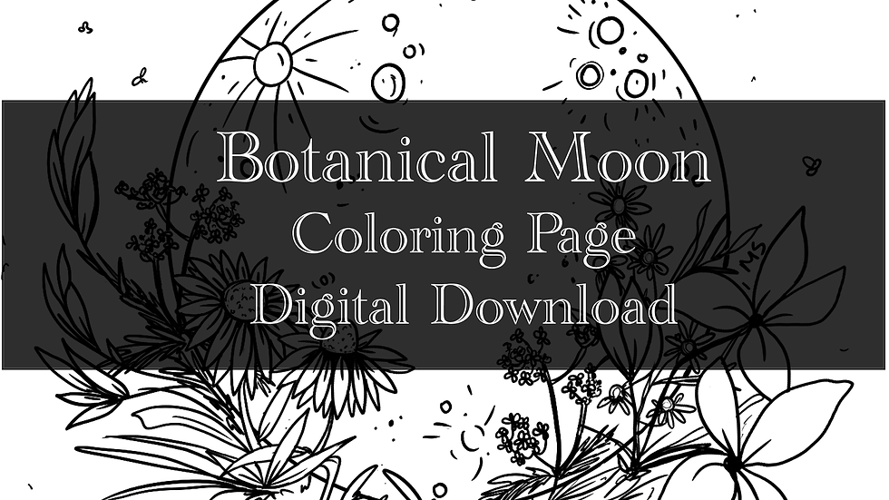 Botanical Moon Adult Coloring Sheet Printable- Digital downloa