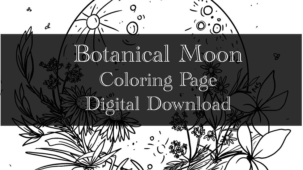 Botanical Moon Adult Coloring Sheet Printable- Digital downloa