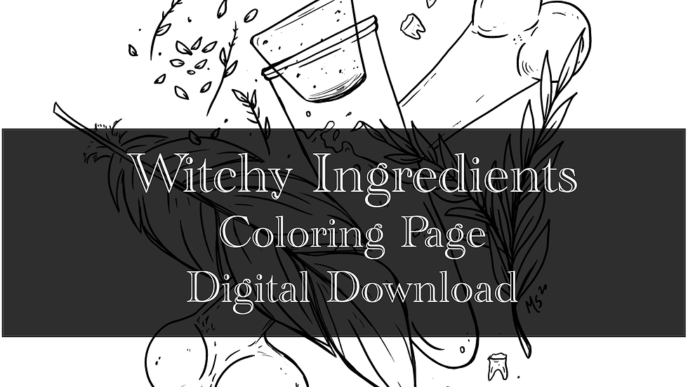 Witchy Spell Ingredients Adult Coloring Sheet Printable- Digital download