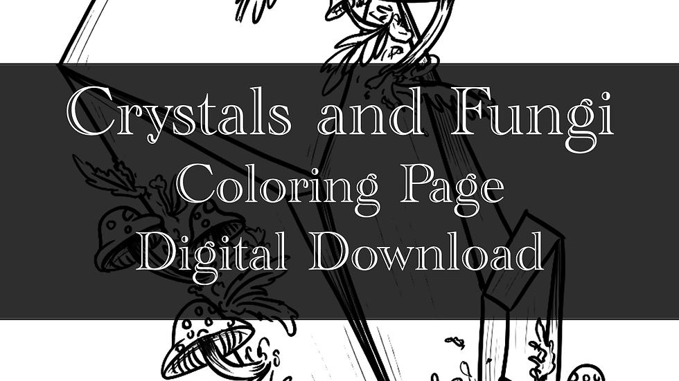 Crystal and Fungi Adult Coloring Sheet Printable- Digital download