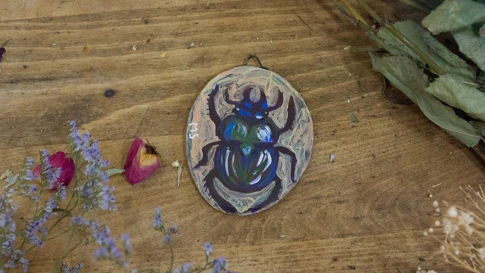 """Original Art on Agate Slices- """"Beetle 01"""""""
